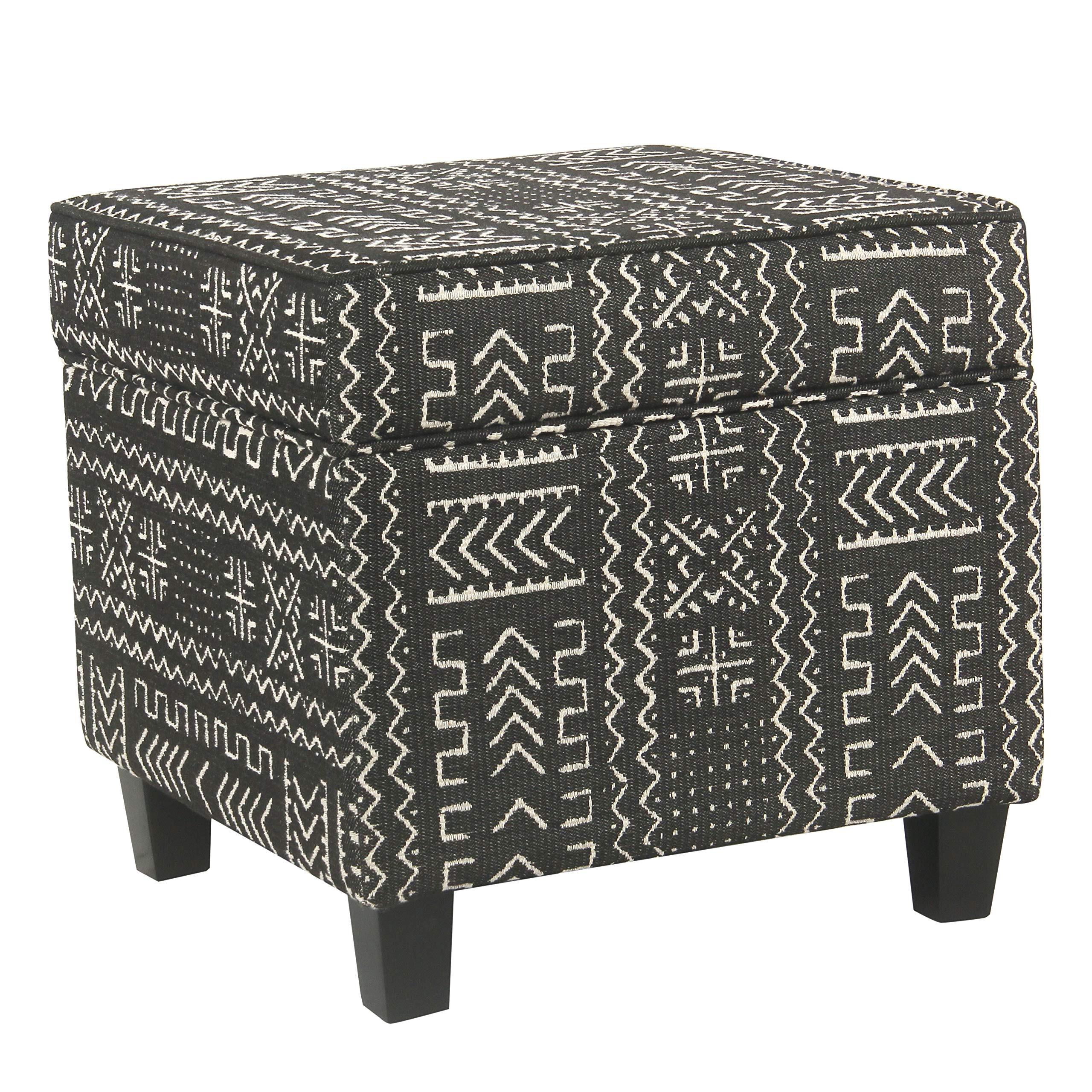 HomePop Square Storage Ottoman with Lift Off Lid, Onyx