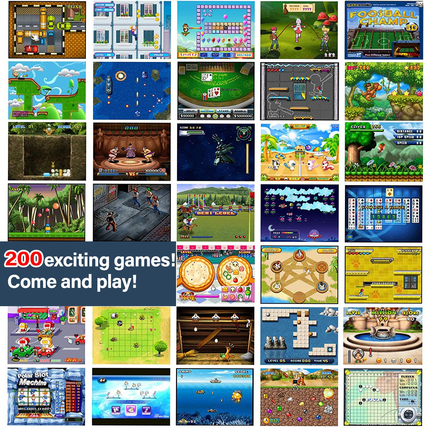 GBD Kids Mini Retro Arcade Game Cabinet Machine 200 Classic Handheld Video Games 2.5'' Display Joystick Travel Portable Game Player Kids Boys Girls Holiday Birthday Gifts Electronic Toys by GBD (Image #8)