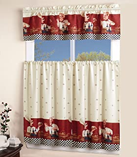 Wonderful MarCielo 3 Piece Printed Floral Kitchen/Cafe Curtain With Swag And Tier  Window Curtain Set