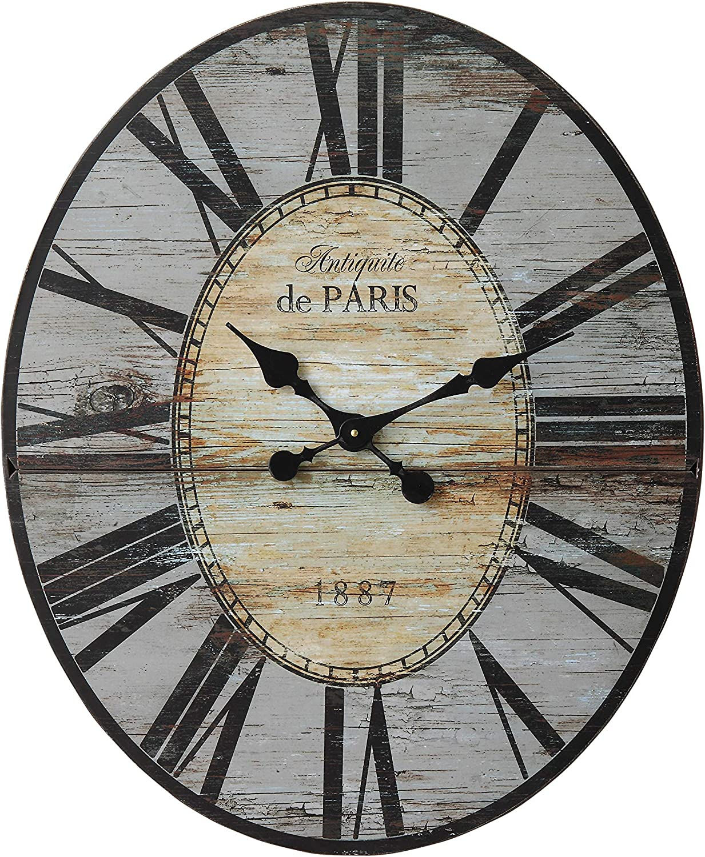 "Creative Co-Op Distressed Wood Wall Clock, 29"" Oval, Grey"