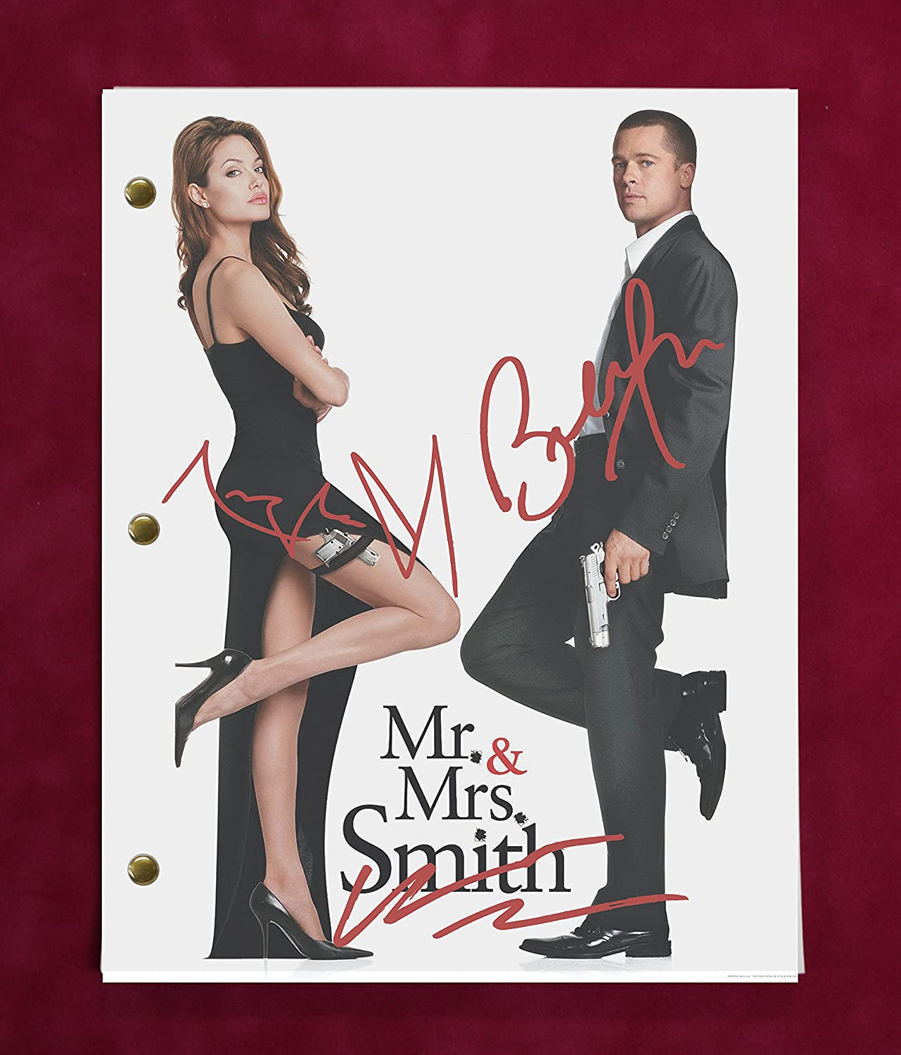 Mr And Mrs Smith Script w/Reproduction Signature Jolie and Pitt C3