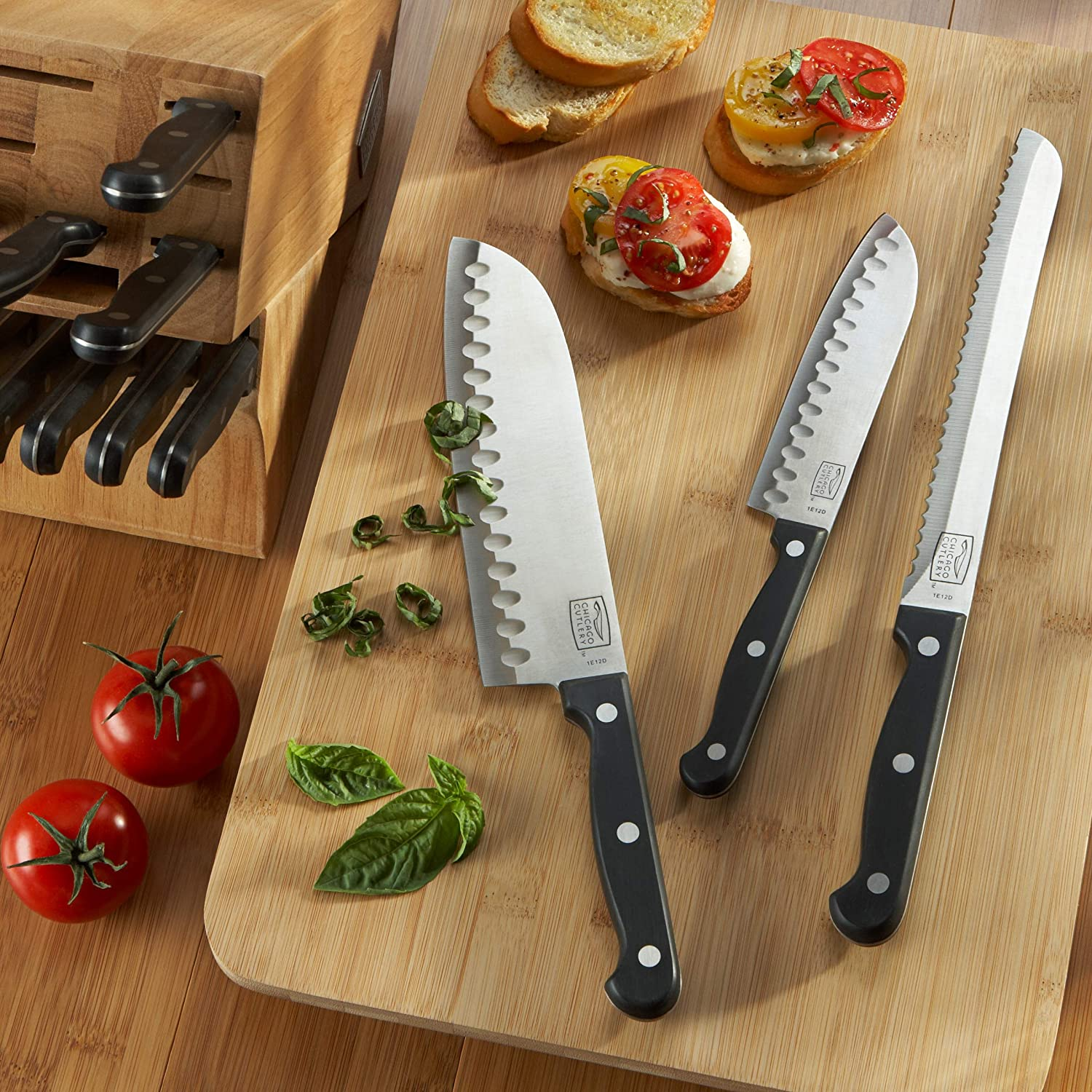 Chicago Cutlery Essentials Stainless Steel Knife Block Set