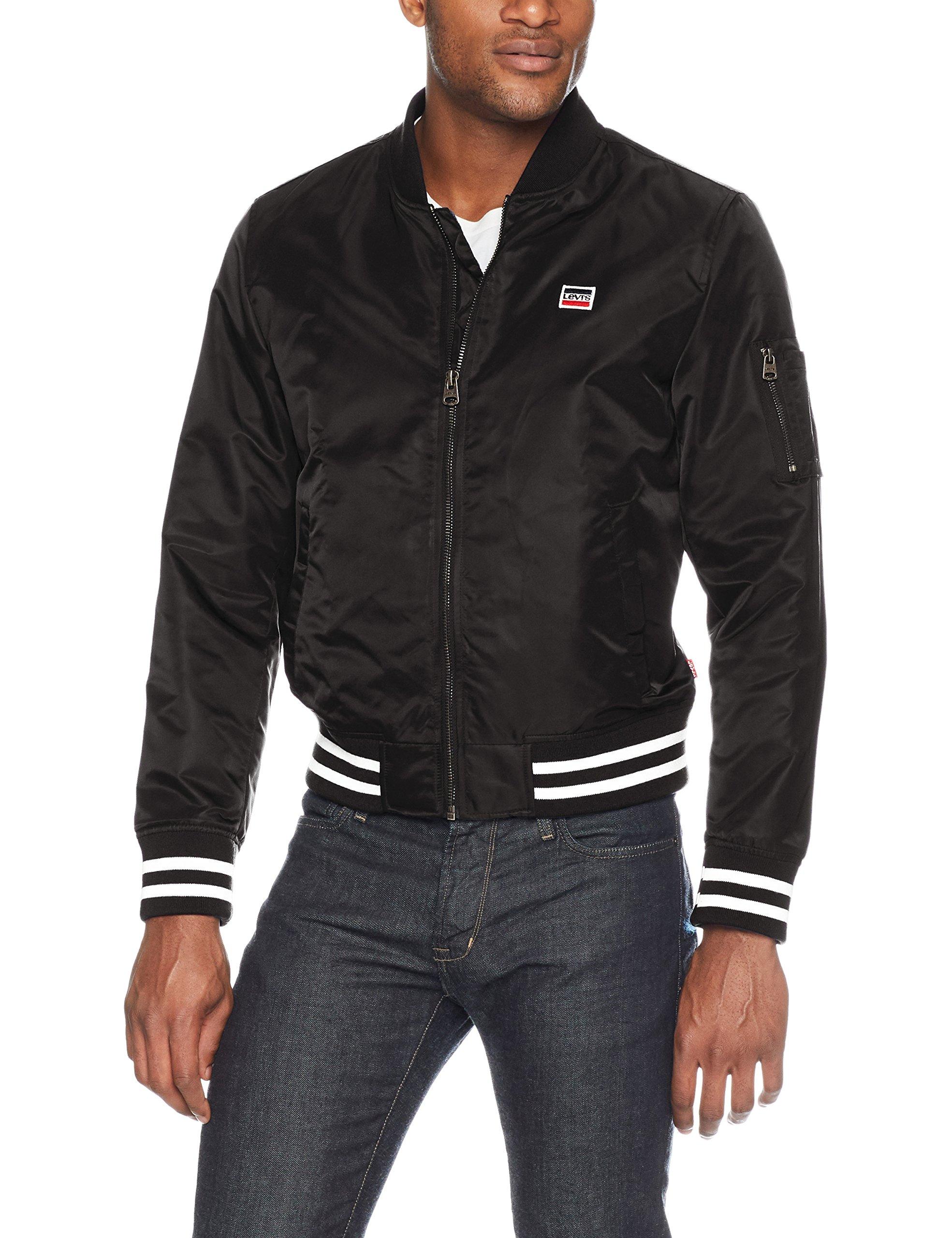 Levi's Men's Retro Varsity Bomber Jacket, Black, Small
