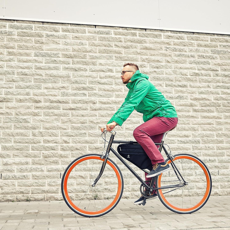 Bolsa para Cuadro de Bicicleta Prémium I Bolsa Espaciosa para Bici de Hombre y Mujer I Bolsa Triangular Impermeable con Sensor Reflectante: Amazon.es: ...