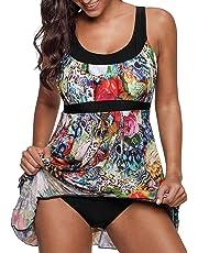 Crazycatz Womens Floral Print One Piece Swimsuit Swimdress
