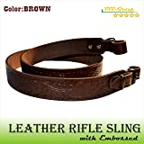 TOTAL SALE! Real Leather Gun Sling Strap with Embossed Acorn Design for Shooting Sport, Hunting – Adjustable 2 Point Shotgun Cord - Guaranteed Excellent Quality