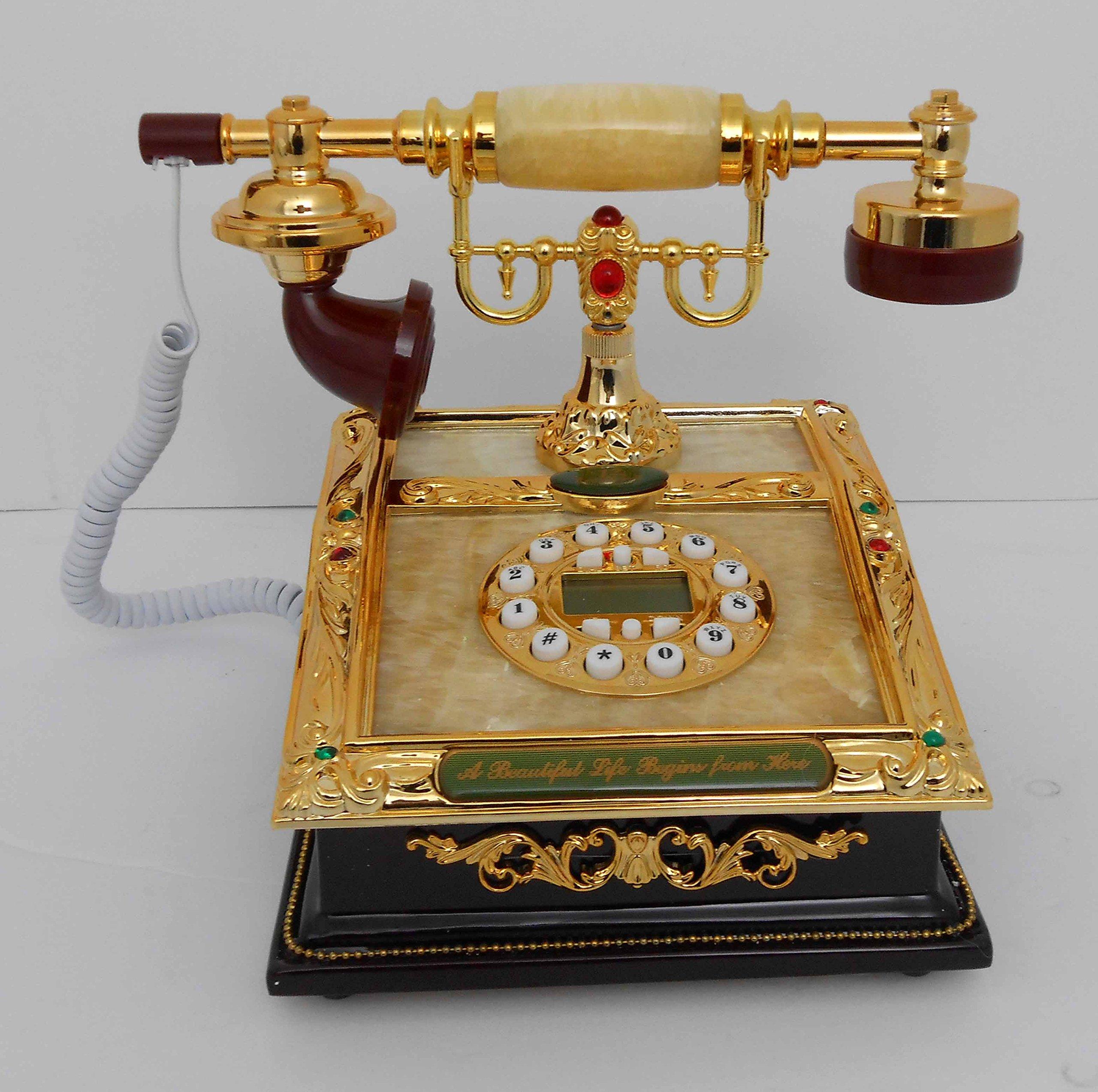 Retro style push button dial desk telephone (onyx) / Home decorative # 1715