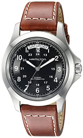 16507cc61ee3d Hamilton Men s H64455533 Khaki King Series Stainless Steel Automatic Watch  with Brown Leather Band