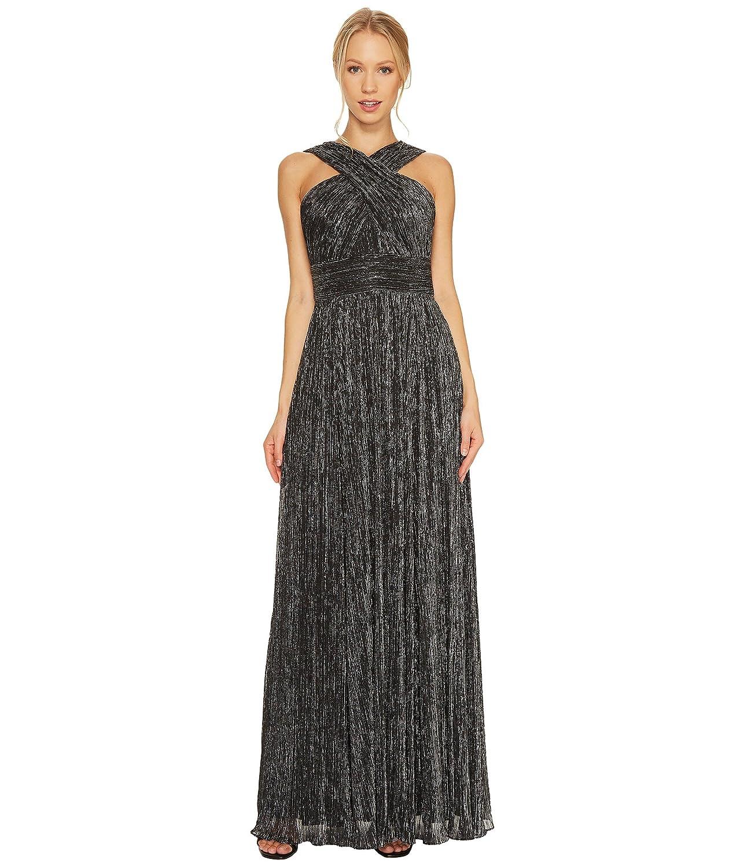 [カルバンクライン] Calvin Klein レディース Shimmer Cross Neck Gown CD7B6X8Y ドレス [並行輸入品] B074Z28T6L 4|Black/Silver Black/Silver 4