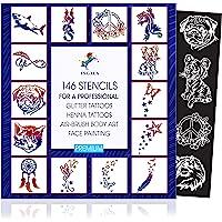 INGALA Premium sjablonenset - 146 kunstzinnige glittertattoosjablonen voor kinderen, tieners en volwassenen. Te…