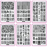 CICI&SISI Nail Stamping Stamping Plate Set Jumbo 5-Set of 6 JUMBO Nail Art Konad Polish Stamping Manicure Accessories Kit All New Designs with FREE STAMPER & SCRAPER TOOLS SET