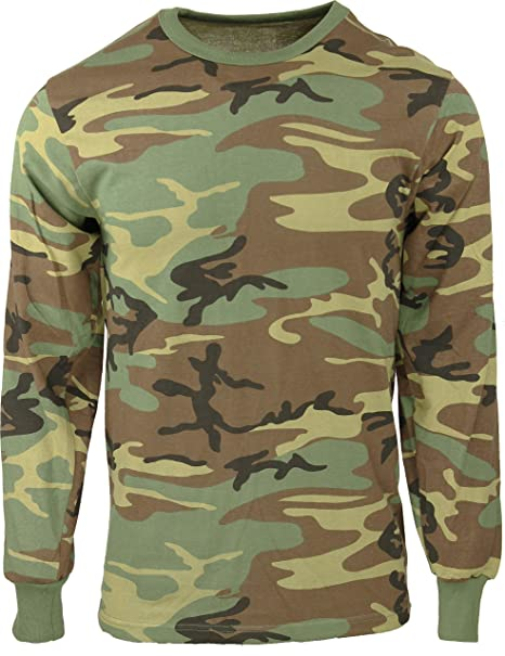 751d20eb3f00 Army Universe Woodland Camouflage Long Sleeve Military T-Shirt Pin - Size  Small (33""