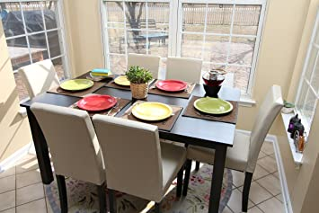 7 Pc Ivory Leather 6 Person Table And Chairs Dining Dinette