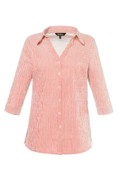 9ee2367acc1 Ulla Popken Women s Plus Size Seersucker Textured Stripe Blouse Apricot Stripe  16 18 697563 66