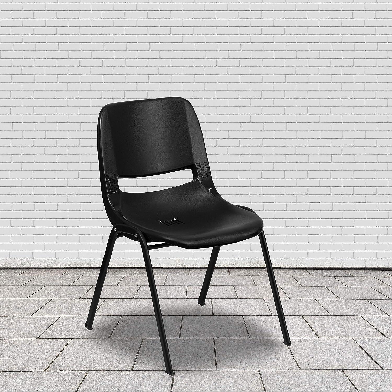 Flash Furniture HERCULES Series 880 lb. Capacity Black Ergonomic Shell Stack Chair with Black Frame