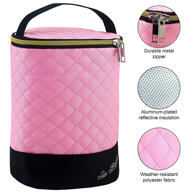 Sun Bloom Insulated Baby Bottle Breast Milk Storage Cooler Bag Pink, 2 Bottles