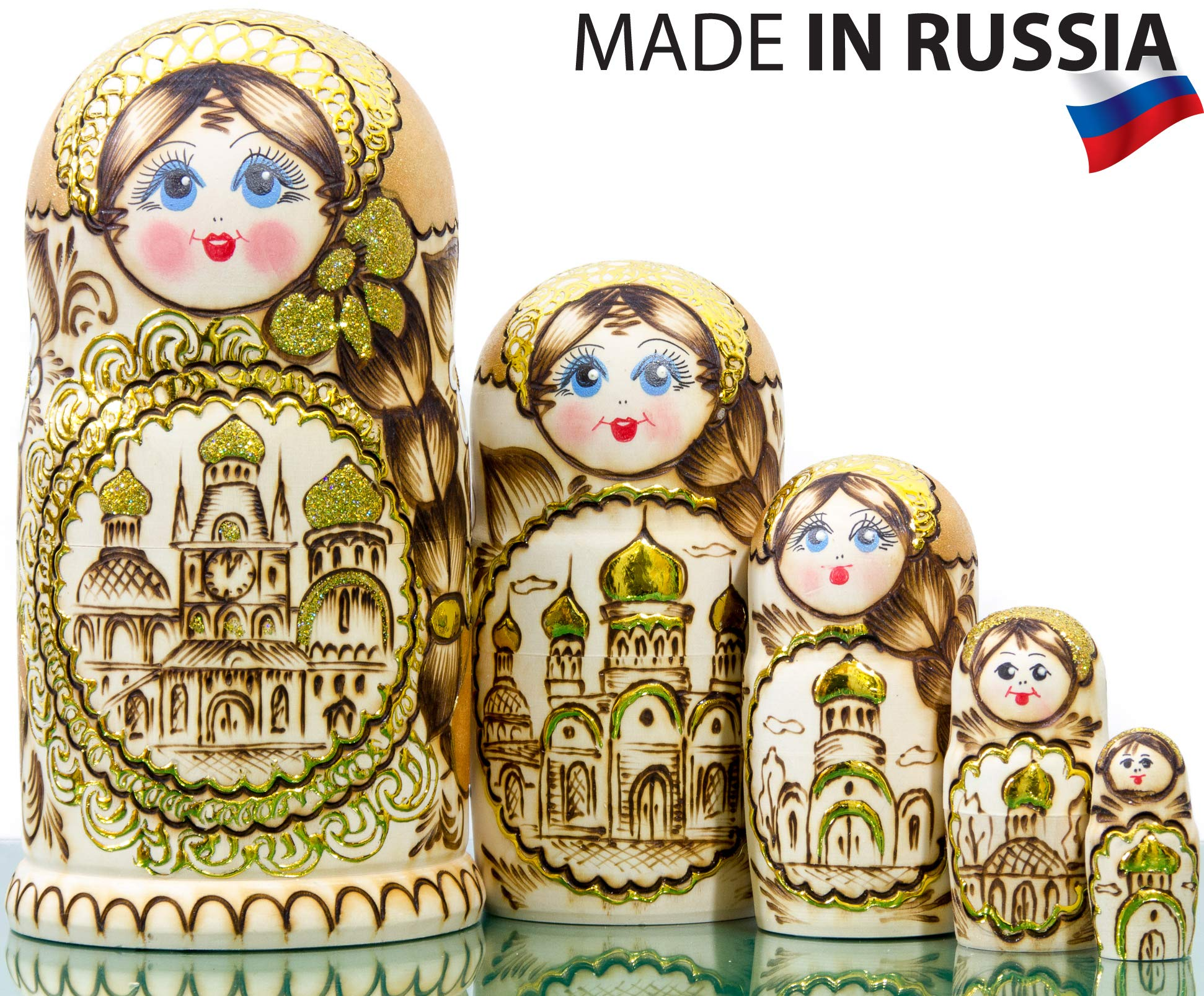 Russian Nesting Doll - Golden Domes of Russia - Hand Painted in Russia - Traditional Matryoshka Babushka - 6.75``(5 Dolls in 1) (Style B)