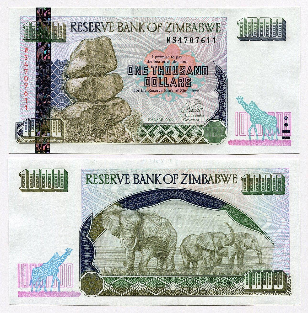 Zimbabwe 1000Dólares 2003UNC, mundo inflación moneda billetes de banco, P12 RBZ