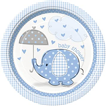 Blue Elephant Boy Baby Shower Dinner Plates, 8ct