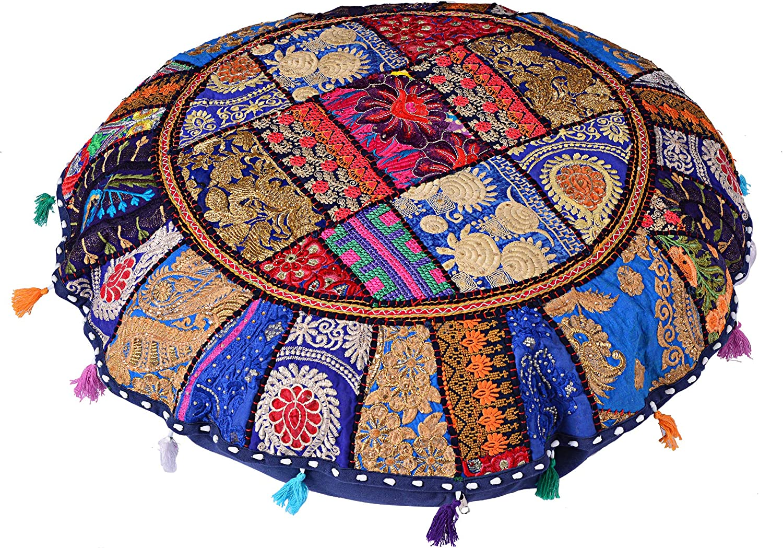 flyingasedgle Indian Handmade Colorful Floor Decor Round Pillow 32'' inch Bohemian Meditation Cushion Floor Cushion Indian Seating Ottoman Cover (Blue)