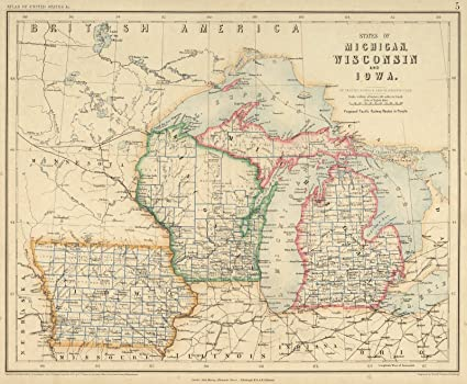 Michigan And Wisconsin Map.Amazon Com National Atlas 1857 States Of Michigan Wisconsin And