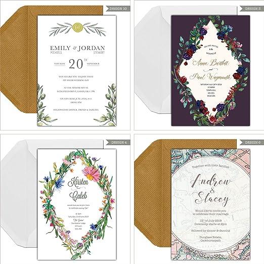 Invitaciones de boda personalizadas para el día o la noche, con ...
