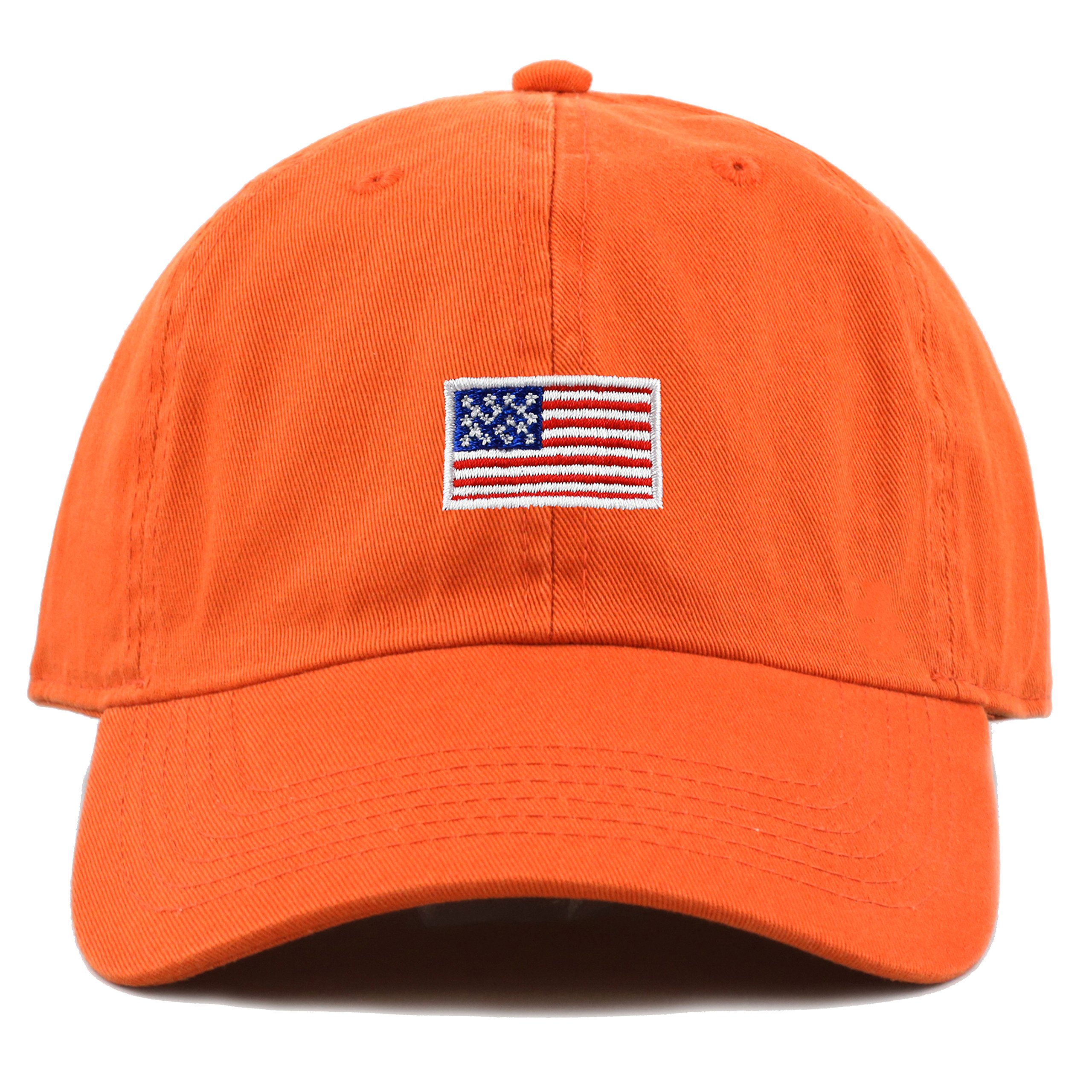THE HAT DEPOT Kids American Flag Washed Low Profile Cotton and Denim Plain Baseball Cap Hat (6-9yrs, Orange)
