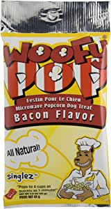 Dogmatic Woofypop Microwave Popcorn For Dogs, Bacon, 1-3/5-Ounce Package