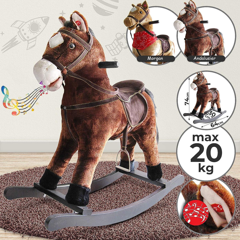 Effets Sonores 20 kg Charge Max Peluche /à Bascule Mod/èles au Choix Rocking Horse Jouet Cheval Hauteur dAssise 46 cm Infantastic Cheval /à Bascule en Bois Cheval Animal en Peluche