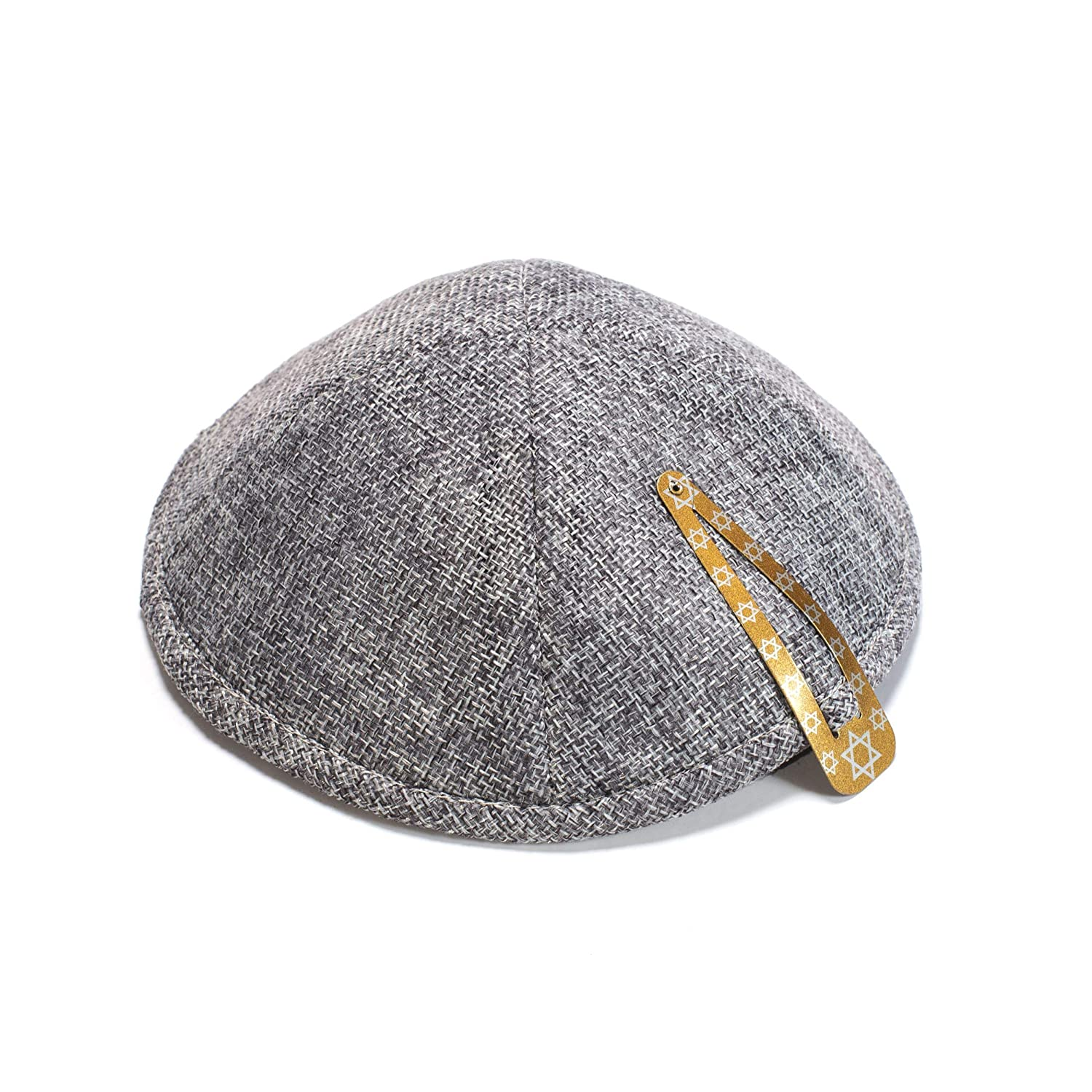 Art Judaica Linen Kippah with Pin Spot and Rim 19 Centimeters