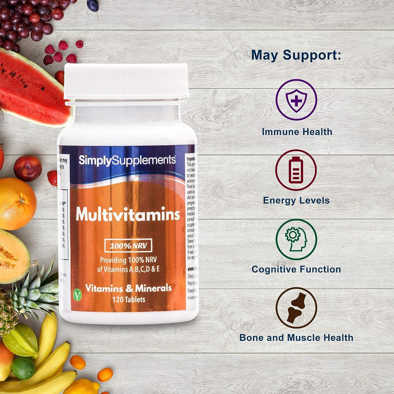 Multivitaminas 100% IDR ABCD y E - 120 comprimidos - 4 meses de suministro - SimplySupplements