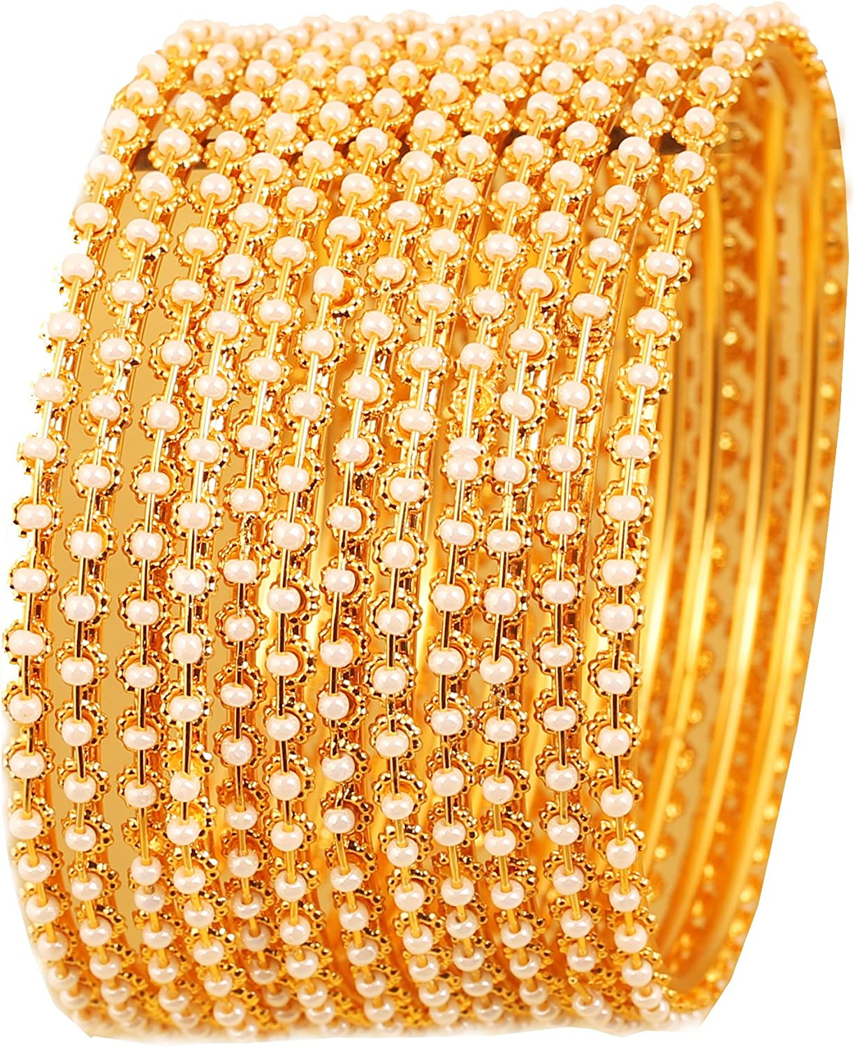 Indian Bollywood Traditional and Exclusive Thin Designer Jewelry Bangle Bracelets Embellished with Faux Pearls in Antique Gold Tone for Women. Set of 12 Touchstone New Pearl Bangle Collection