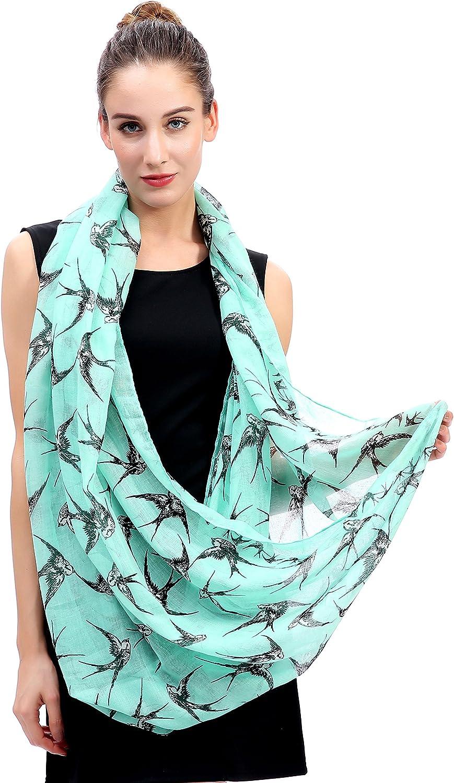 Lina /& Lily Swallow Bird Print Womens Infinity Loop Scarf Green