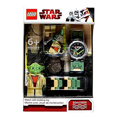 Lego Year 2010 Star Wars Series Watch with Minifigure Set #9002069 - YODA Watch Plus Yoda Minifigure with Green Lightsaber (Water Resistant: 50m/165ft): Toys & Games