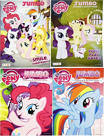 Amazon.com: Set Of 4 My Little Pony Jumbo Coloring Books - Pony Play Dates  - Smile, Everypony! - Rainbow Dash - Tear And Share - 96 Pages - Coloring  And Activity Book