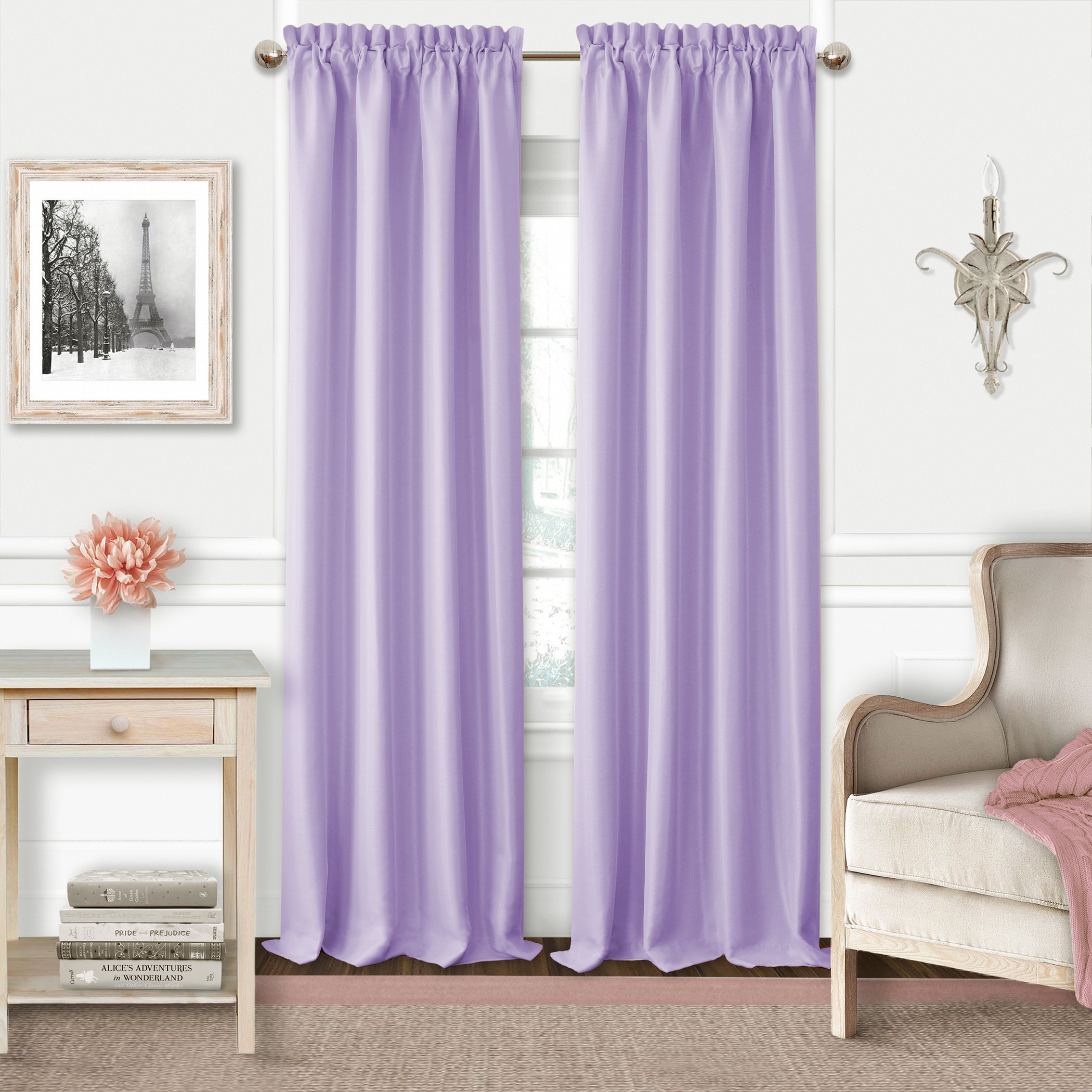 Elrene Adaline Kids Pastel Faux Silk Solid Color Blackout Room Darkening Thermal Insulating Window Curtain/Single Rod Pocket Panel by, 52 Inch Wide X 84 Inch Long, Lavender