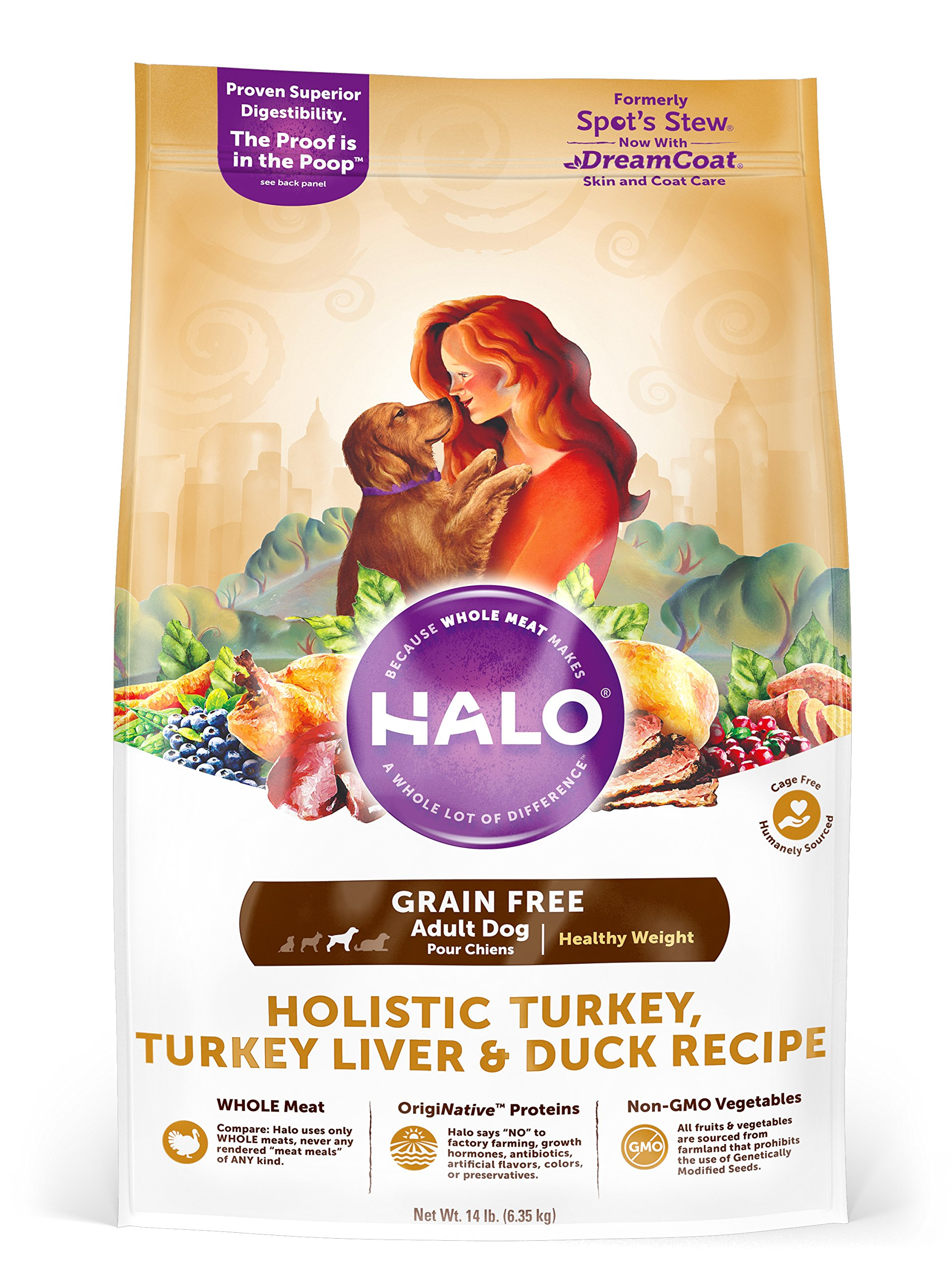 Halo Grain Free Natural Dry Dog Food, Healthy Weight Turkey, Turkey Liver & Duck Recipe, 14-Pound Bag by HALO