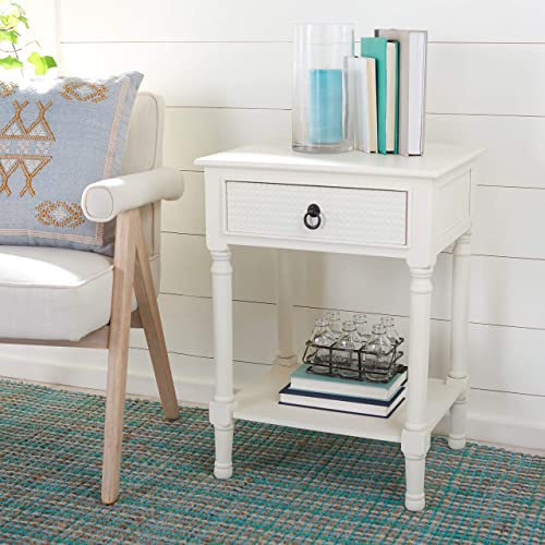 Safavieh Home Collection Haines White 1-Drawer Bottom Shelf Accent Table ACC5720D - the best living room table for the money