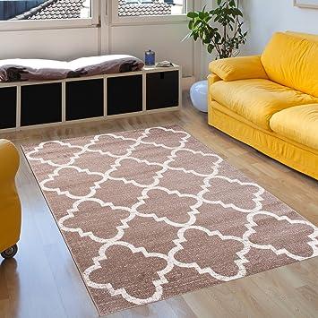 Tapiso SARI Teppich Kurzflor | Designer Teppiche in Beige Weiss mit  Geometrisch Marokkanisch Muster | Perfekt für Wohnzimmer, Gästezimmer, ...