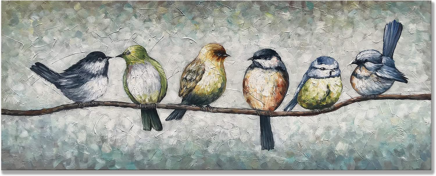 Alenoss 100% Hand Painted Abstract Oil Paintings 20x50 inch Modern Wall Canvas Animal Art Paintings on Canvas Frame Wall Art Birds Artwork Wall Decor for Home Walls Living Room Bedroom