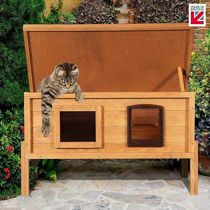 XL exterior Microchip casa de la perrera con una forma de gatos para exteriores privacidad ventana: Amazon.es: Productos para mascotas