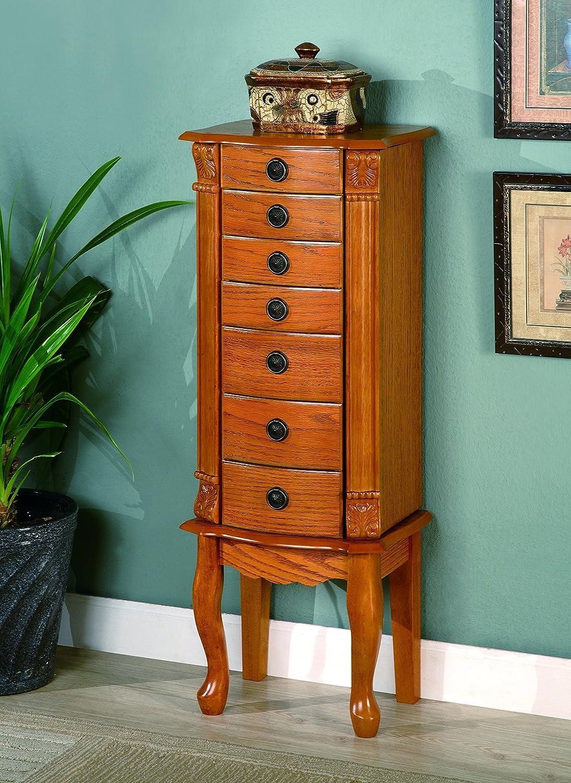 Amazon com classic oak jewelry armoire honey kitchen dining
