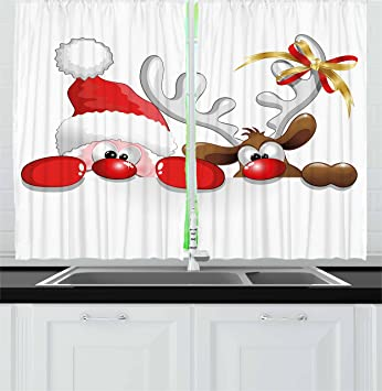 Christmas Kitchen Curtains By Ambesonne Funny Santa Claus And Reindeer Peeking Cartoon Style Humor