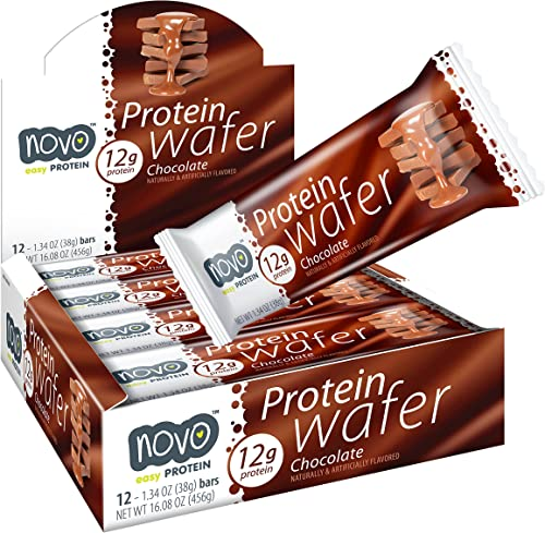 Novo Protein Energy Wafer Bar 12g of Protein Workout Recovery 12 Bar Pack Chocolate