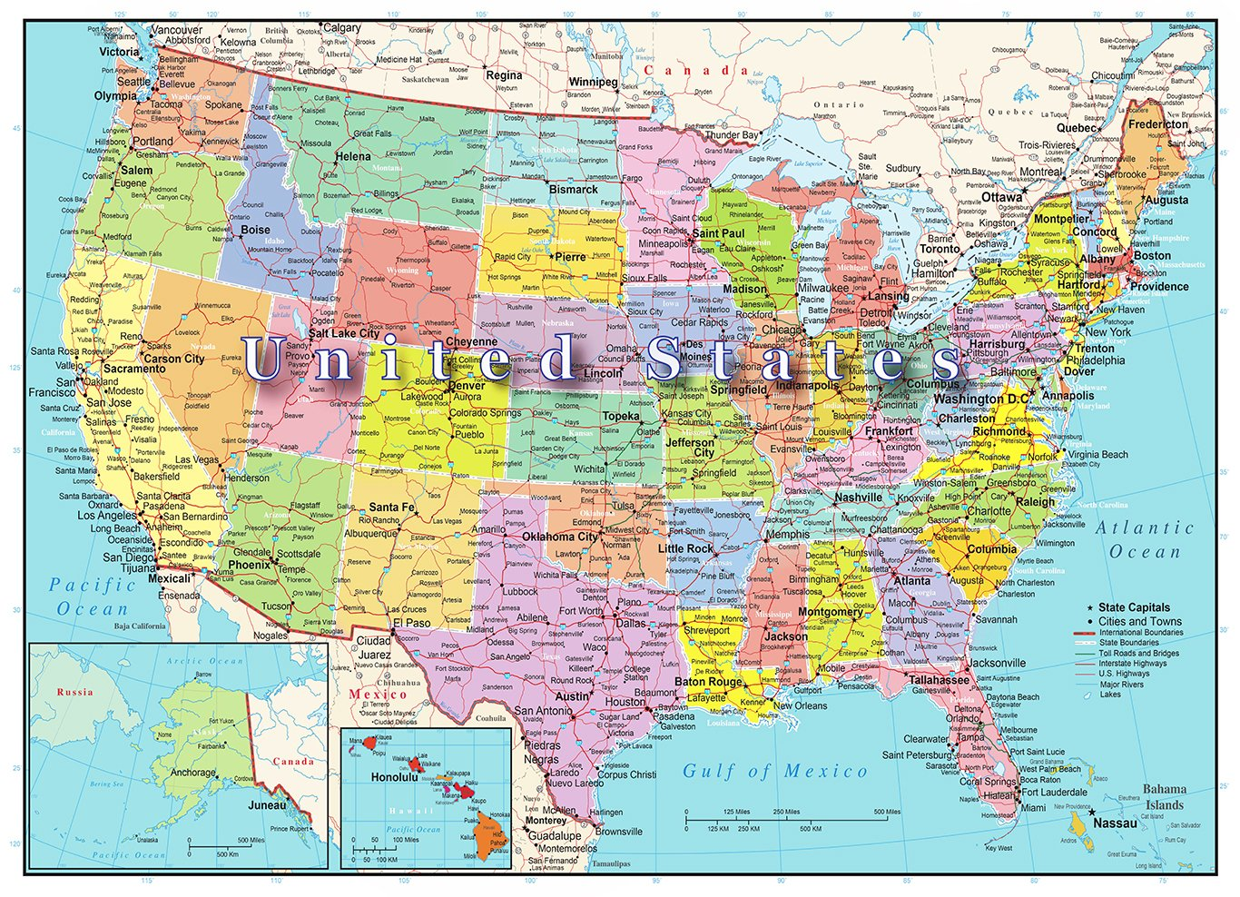 Amazoncom United States Of America Map Piece Jigsaw Puzzle - Map of united states of america with capitals
