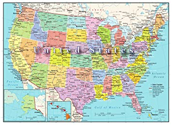 Amazoncom United States Of America Map Piece Jigsaw Puzzle - Usa map capitals