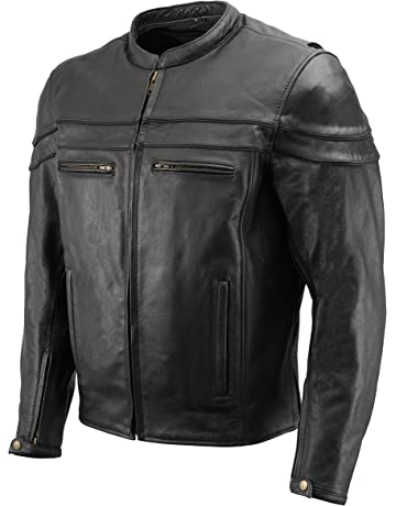 f08ff55ea45 Men s Leather Crossover Scooter Jacket w Removable CE Armor