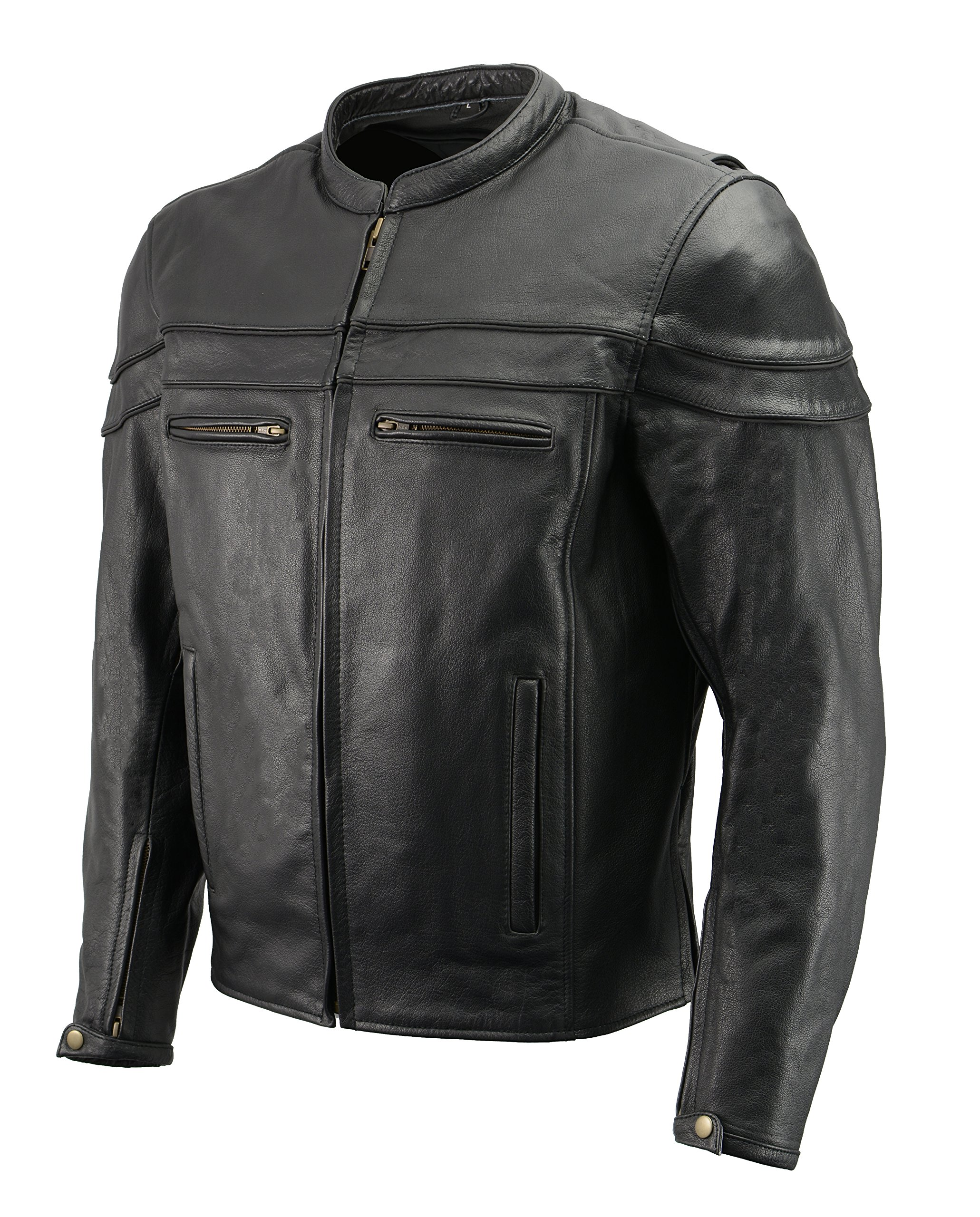 Men's Leather Crossover Scooter Jacket w/Removable CE Armor | Premium Natural Buffalo Leather | Concealed Gun Pockets, Vented Motorcycle Jacket (Black, 5X)