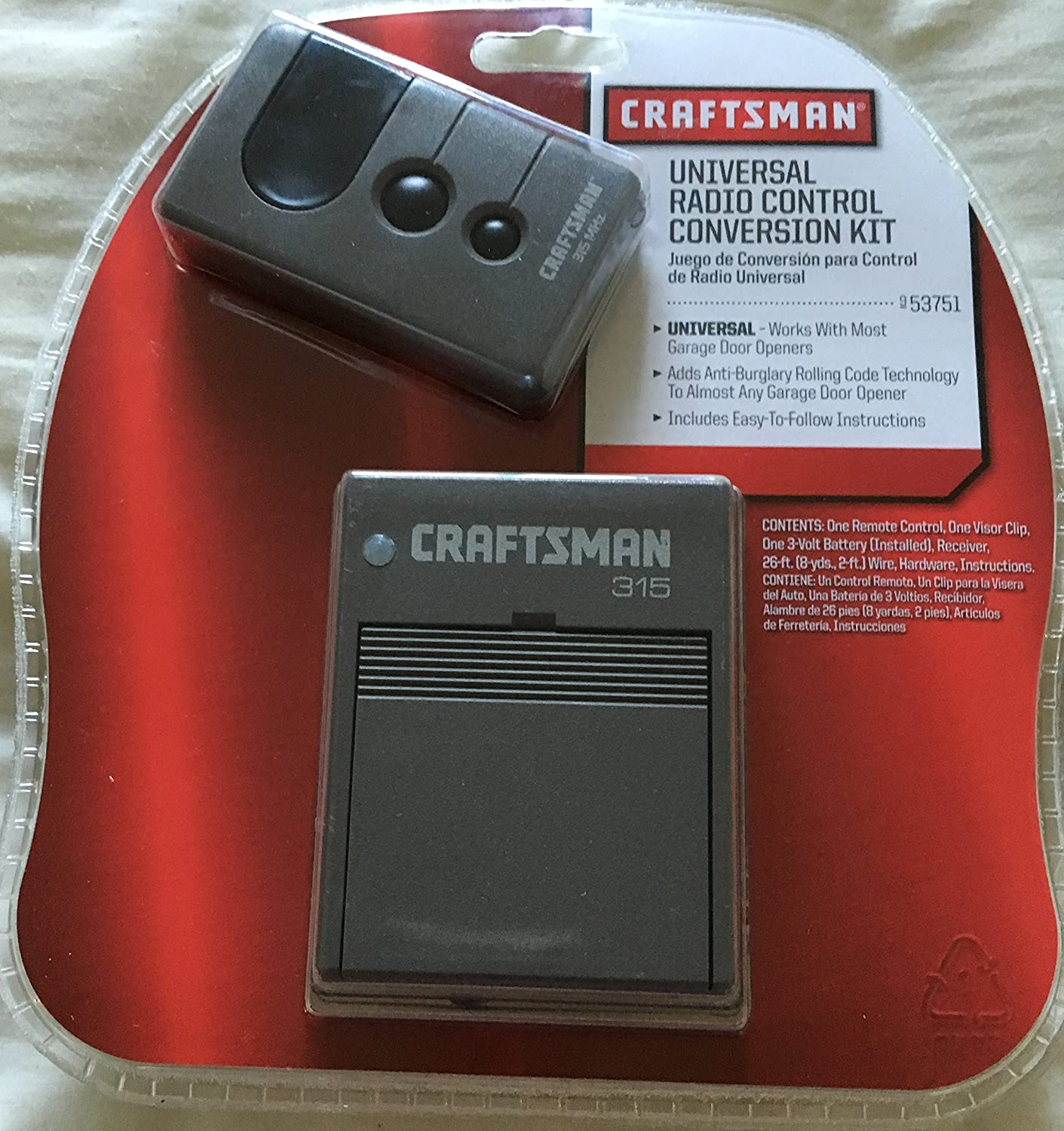 craftsman remote control 315 mhz 3 function garage door security garage door remote controls amazoncom