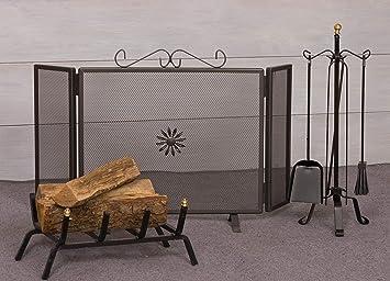 Se Roccaraso Brico-Juego de accesorios de chimenea-Cortafuegos-Soporte organizador para leña